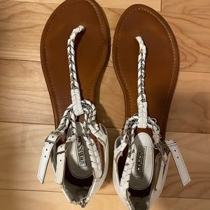 Guess white and silver chains sandals